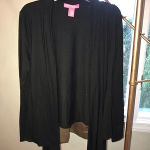 Black cardigan with long front pieces